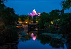 Panoramic view of Expedition Everest mountain, river and rainforest on blue night background in Animal Kingdom  2. Orlando , Florida. May 03, 2019.Panoramic view stock photo