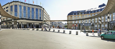 Panoramic view from Exterior of Brussels. Central main railway station. The Brussels Central Train Station is called the Gare de Bruxelles Central Stock Image