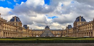 Panoramic view of the facade of the famous Louvre Museum, one of the world`s largest art museums and a historic monument in Paris stock images