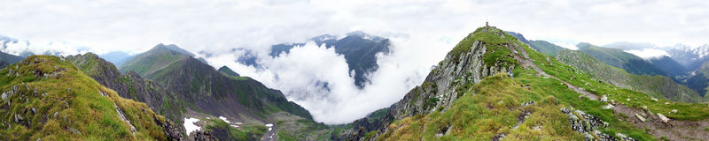 Panoramic view of Fagaras Mountain on summer Stock Photos