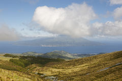 Panoramic view from Faial caldeira. Pico island in Azores archip Stock Photo