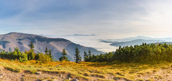 Panoramic view of fall weather inversion in mountains Royalty Free Stock Image