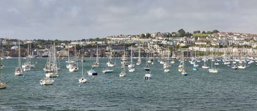 Boats Moored on Penryn River at Falmouth stock photo