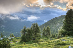 Panoramic view from Falzarego pass at sunrise, Dolomites, Veneto, Italy Stock Images