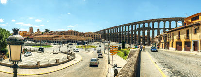 Panoramic view of the famous ancient aqueduct in Segovia, Spain Stock Image