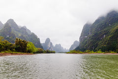 Mountains at the LiJiang river stock images