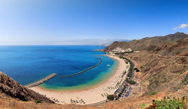 Panoramic view of famous beach Playa de las Teresitas. Tenerife, Spain Stock Photography
