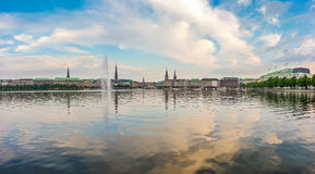 Panoramic view of famous Binnenalster (Inner Alster Lake) in golden evening light at sunset, Hamburg, Germany Royalty Free Stock Photo