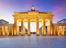 Panoramic view of famous Brandenburger Tor (Brandenburg Gate), o Stock Photo
