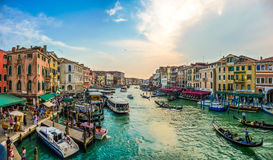 Panoramic view of famous Canal Grande from famous Rialto Bridge in Venice, Italy Stock Images