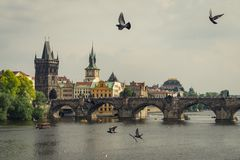 Panoramic view of famous Charles Bridge Karluv most and old town in Prague, Czech Republic. royalty free stock image