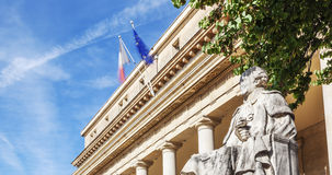 Panoramic view of the famous court of appeal with statue in Aix Royalty Free Stock Photography