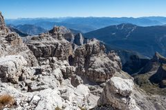 Panoramic view of famous Dolomites mountain peaks, Brenta. royalty free stock images