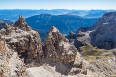 Panoramic view of famous Dolomites mountain peaks, Brenta. stock images