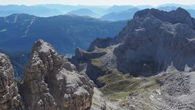 Panoramic view of famous Dolomites mountain peaks, Brenta. stock footage