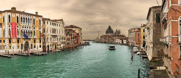 Panoramic view on famous Grand Canal. Stock Images