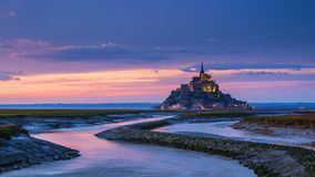 Panoramic view of famous Le Mont Saint-Michel tidal island at su Stock Photography