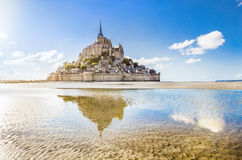 Panoramic view of famous Le Mont Saint-Michel tidal island on a Stock Images