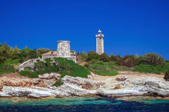 Panoramic view of famous lighthouse at Lefkada, Ionian sea Stock Images
