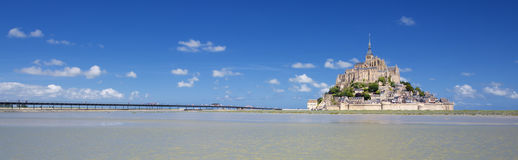Panoramic view of famous Mont-Saint-Michel. France, Europe Stock Photos