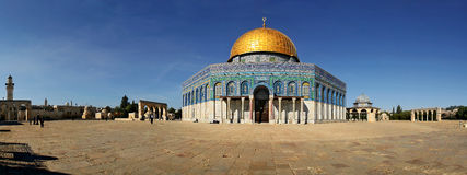 Panoramic view of famous mosque in Jerusalem. Royalty Free Stock Photos
