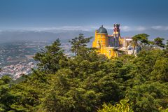Aerial view of Pena National Palace in Sintra, Portugal. Panoramic view of famous Pena National Palace in Sintra, Portugal Royalty Free Stock Images