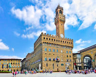 Panoramic view of famous Piazza della Signoria with Palazzo Vecchio in Florence, Tuscany, Italy Stock Images