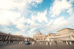 Panoramic view on Famous Rome Papal Basilica of Saint Peter. Piazza San Pietro in Vatican City, Italy stock photo