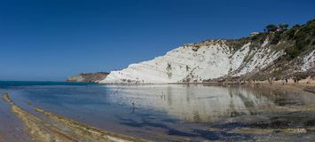 Panoramic view of the famous Scala dei Turchi cliff near Agrigento, Sicily stock photos