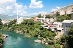 Panoramic view on famous toristic place Mostar. Viewed from the old bridge, Bosnia and Herzegovina Stock Images