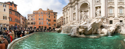 Panoramic view on famous Trevi Fountain in Rome.