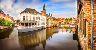 Panoramic view of famous water canal in Bruges Stock Image