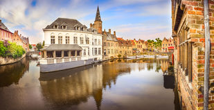 Panoramic view of famous water canal in Bruges Stock Photo