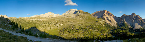 A panoramic view of the Fanes National Park royalty free stock photography