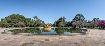 Panoramic view of Farroupilha Park or Redencao Park fountain in - Porto Alegre, Rio Grande do Sul, Brazil royalty free stock photos