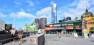 Panoramic view of Federation Square In Melbourne ,Australia Royalty Free Stock Photography