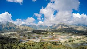 Panoramic View Of Field And Mountains Against Sky stock image