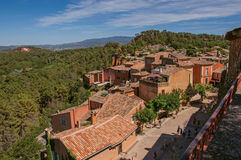 Panoramic view of the fields and hills of Provence from the city center of Roussillon