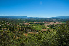 Panoramic view of the fields and hills of Provence near Gordes Royalty Free Stock Image