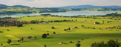Panoramic view on fields and meadows of Germany. Royalty Free Stock Images