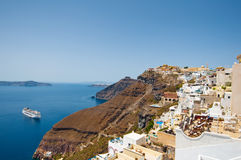 Panoramic view of Fira on the island of Thera(Santorini), Greece. Royalty Free Stock Image