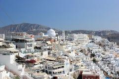 Panoramic view of Fira. Santorini Island, the Cyclades, Greece. Stock Image