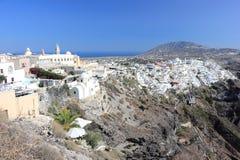 Panoramic view of Fira. Santorini Island, the Cyclades, Greece. Royalty Free Stock Image