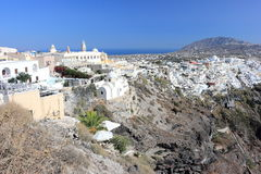 Panoramic view of Fira. Santorini Island, the Cyclades, Greece. Royalty Free Stock Photography