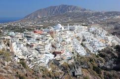 Panoramic view of Fira. Santorini Island, the Cyclades, Greece. Stock Photography