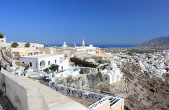 Panoramic view of Fira. Santorini Island, the Cyclades, Greece. Royalty Free Stock Photos