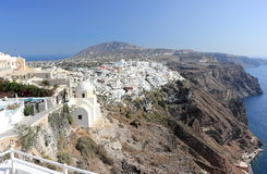 Panoramic view of Fira. Santorini Island, the Cyclades, Greece. Royalty Free Stock Images