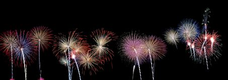 Panoramic view of fireworks. Royalty Free Stock Images