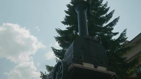 Panoramic view of the first steam train in Russia. Invention. stock footage
