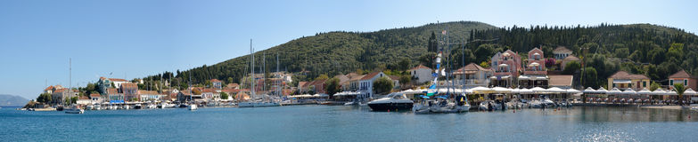 Panoramic view of Fiscardo Royalty Free Stock Photos